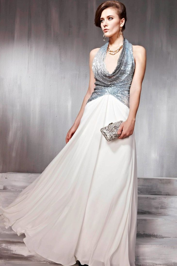 New Blues and white Cocktail Prom Satin Halter Formal Long Evening