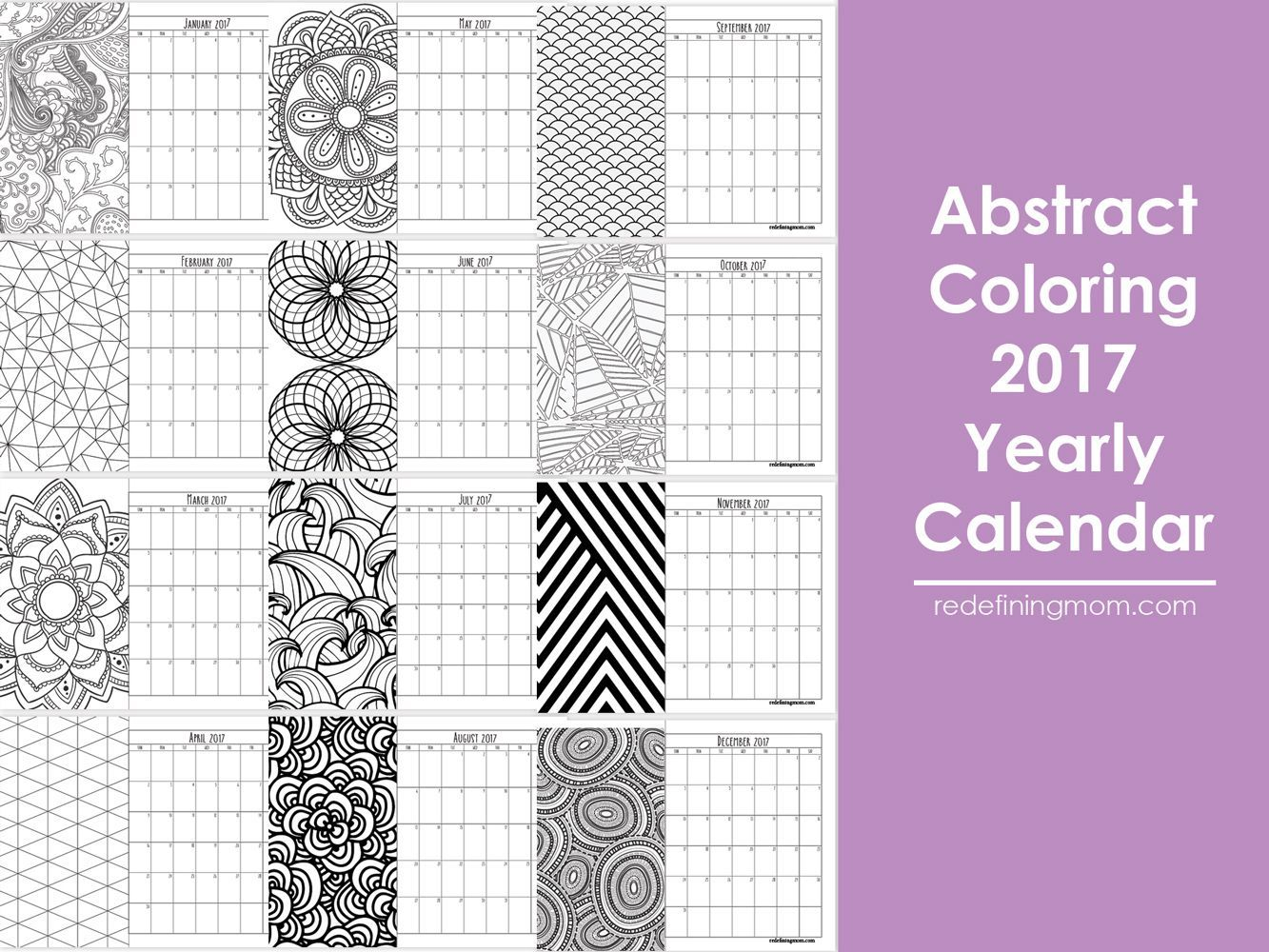 Abstract Adult Coloring Calendar Free Printable