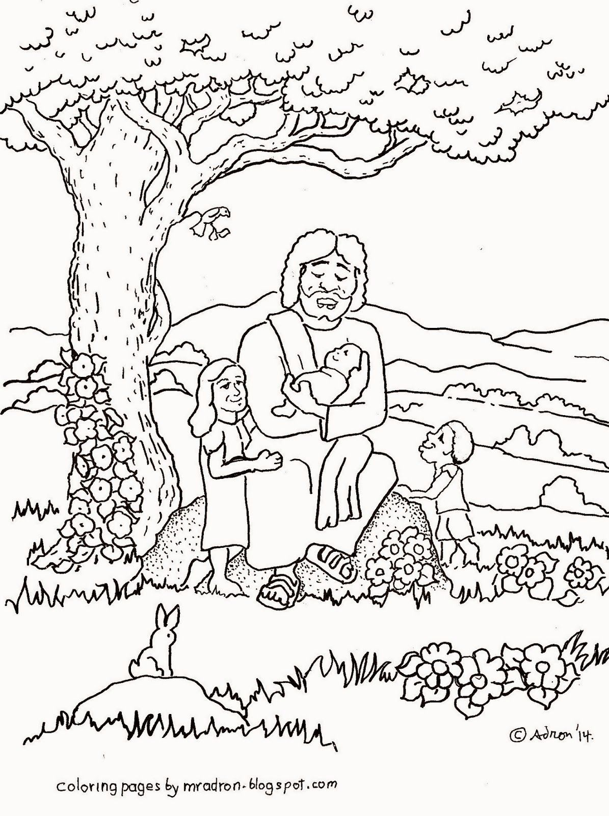 Coloring Pages For Kids By Mr Adron Jesus Blesses The