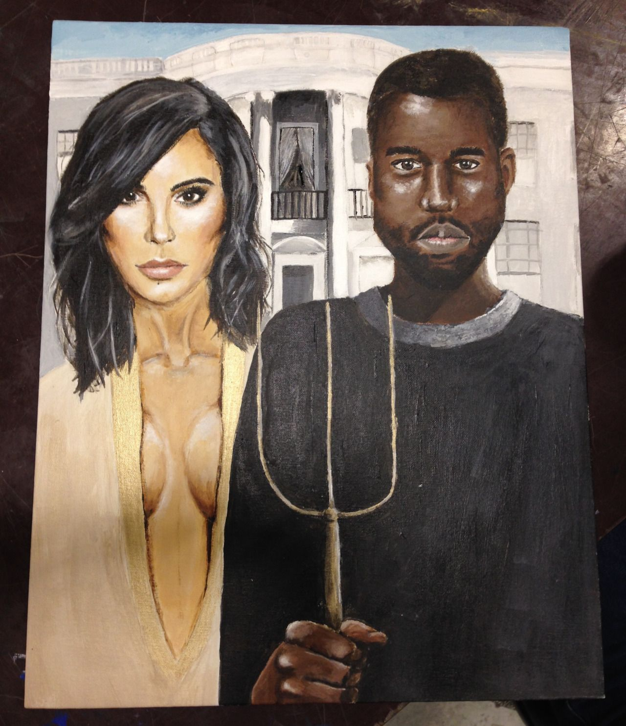 American Gothic Parody Painted By My Lovely Friend