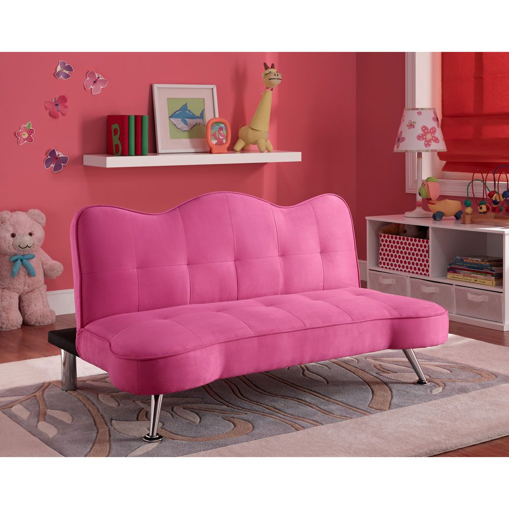 convertible sofa bed couch kids futon lounger girls pink bedroom