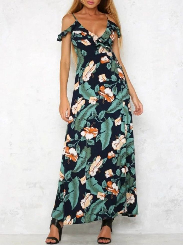 Womens NavyPink Sexy Cold Shoulder VNeck Floral Print Long Dress