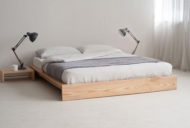 Unpolished Hickory Hardwood Low Profile Bed Using Gray Flat Sheet Throughout Double Bedroom Mattress