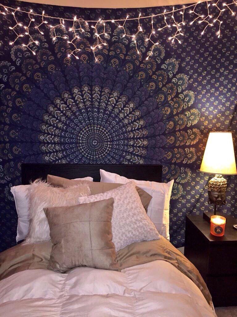 mandala tapestry, dark blue tapestry, boho bedroom | home decor