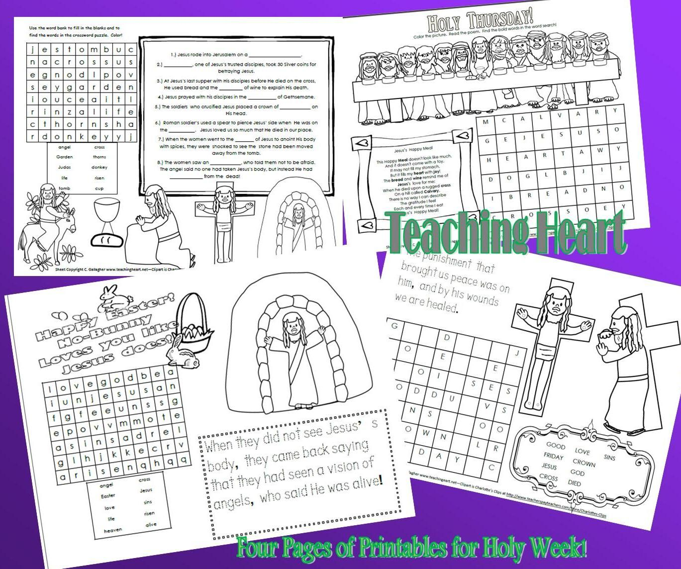 4 Printable Activity Sheets For Holy Week And Easter