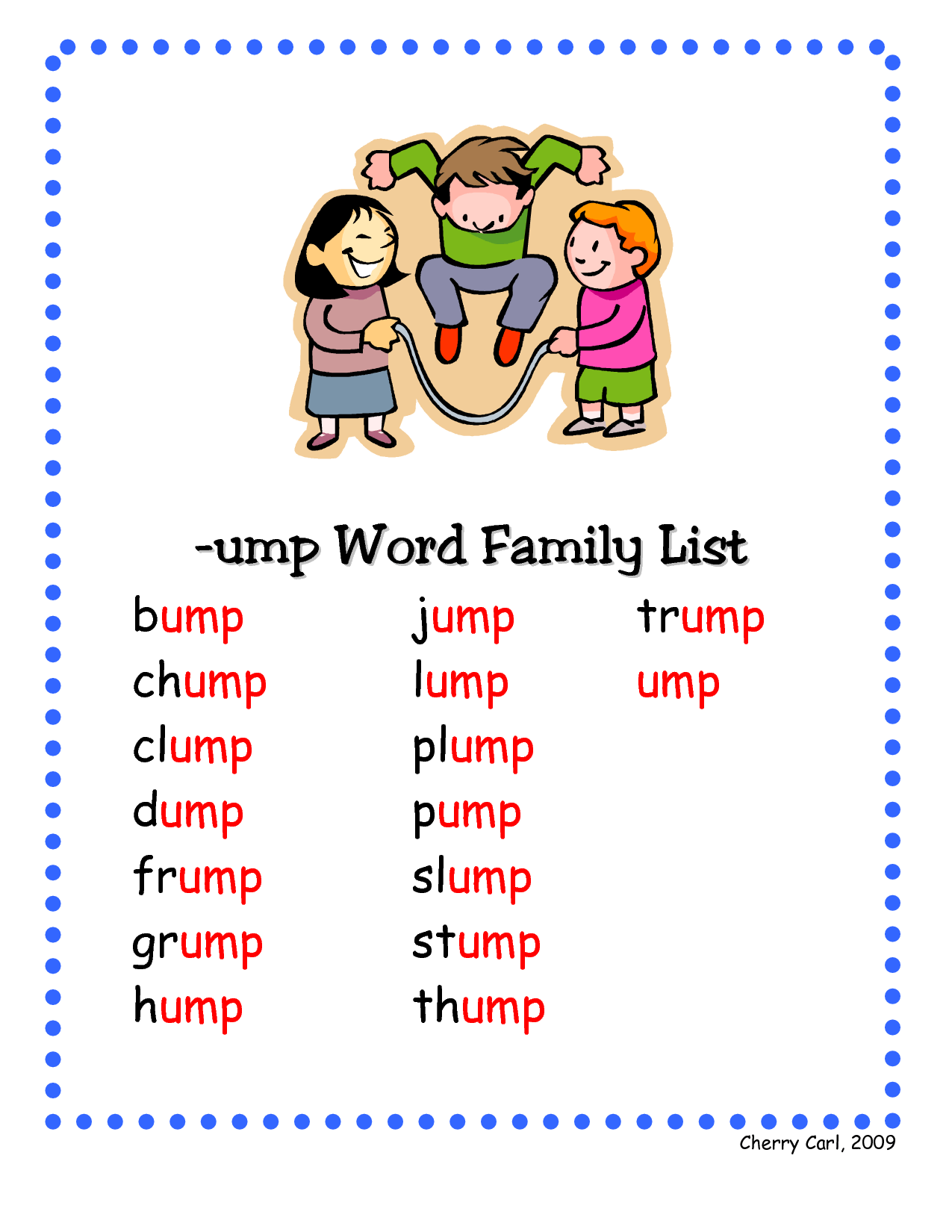 Ump Word Family List