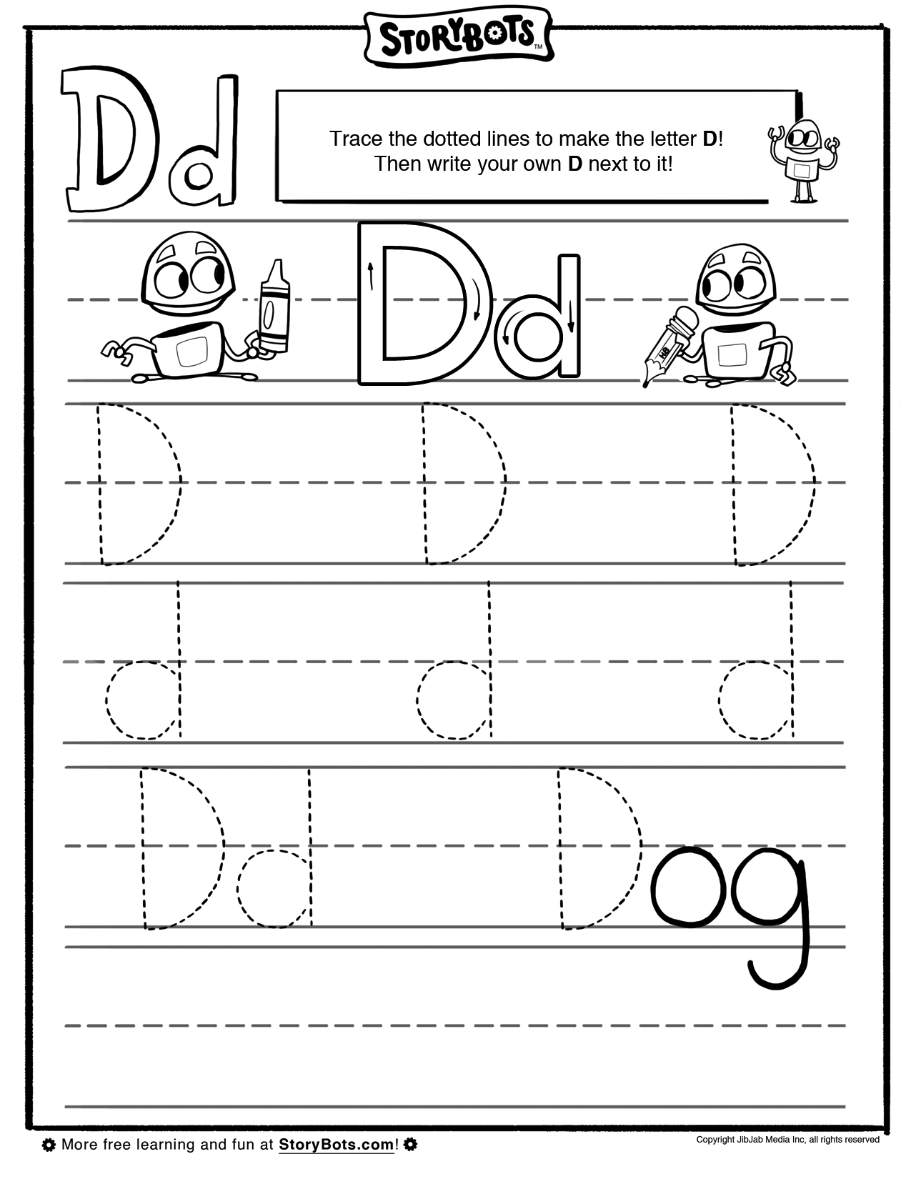 It S Easy To Draw A Letter D Just Trace The Dotted Lines