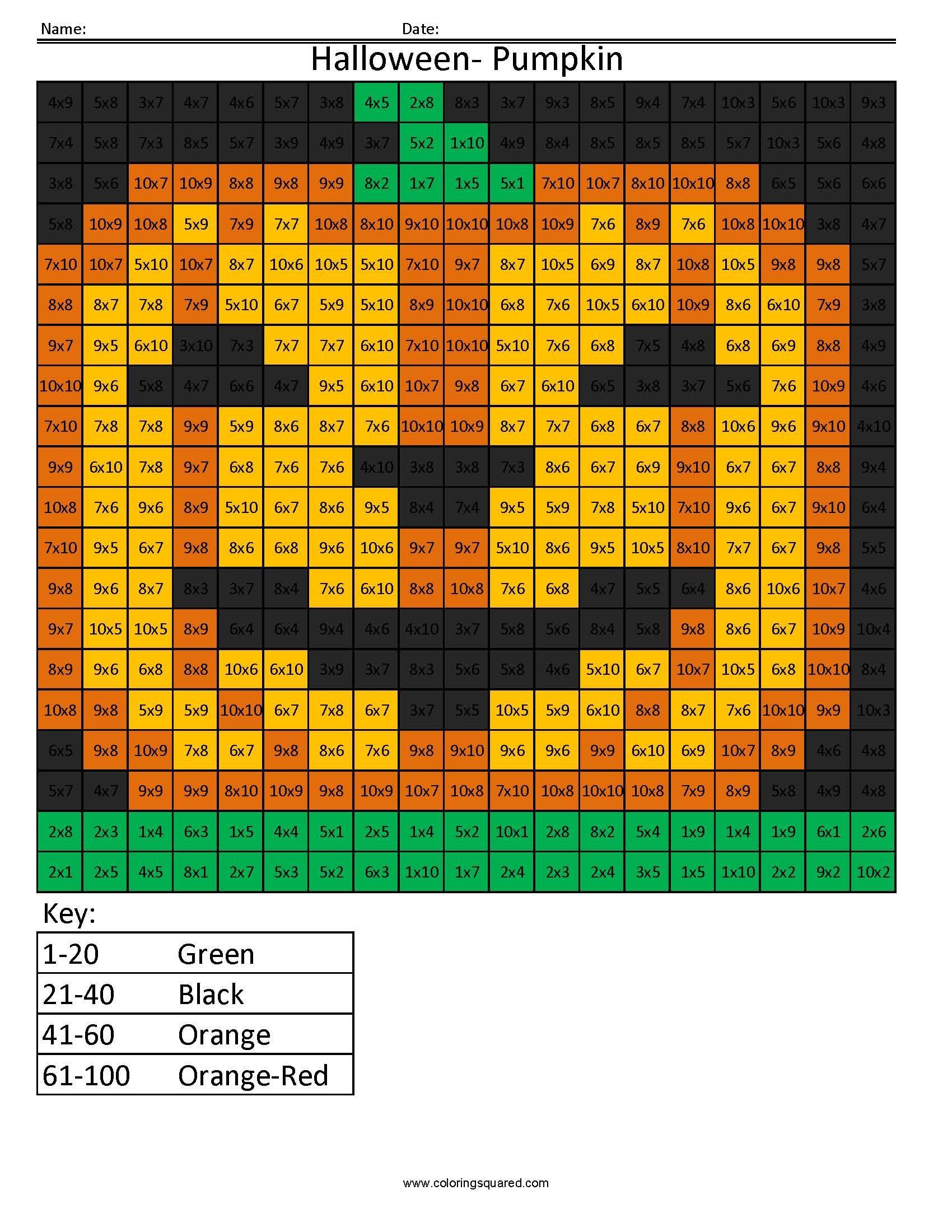 Halloween Pumpkin Holiday Multiplication