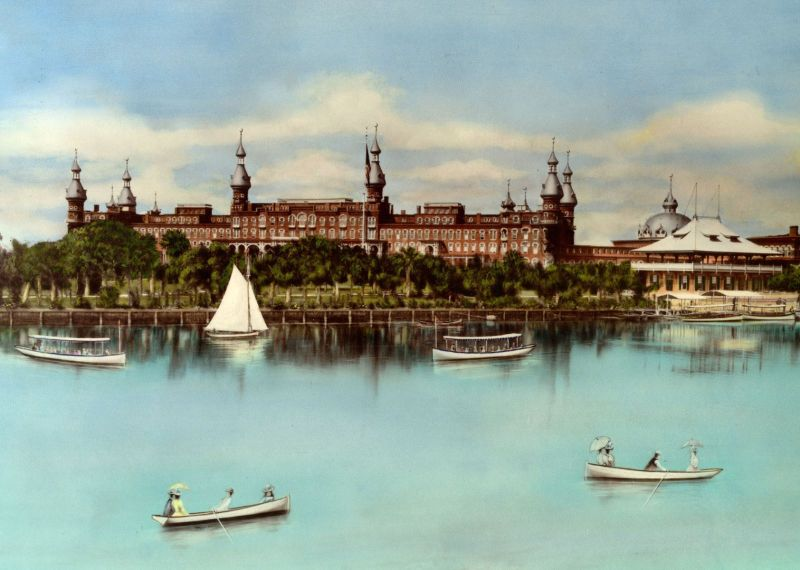 Beautiful vintage postcard of the old tampa bay hotel now