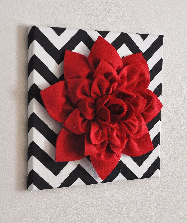 Red Wall Flower Red Dahlia on Black and White Chevron x