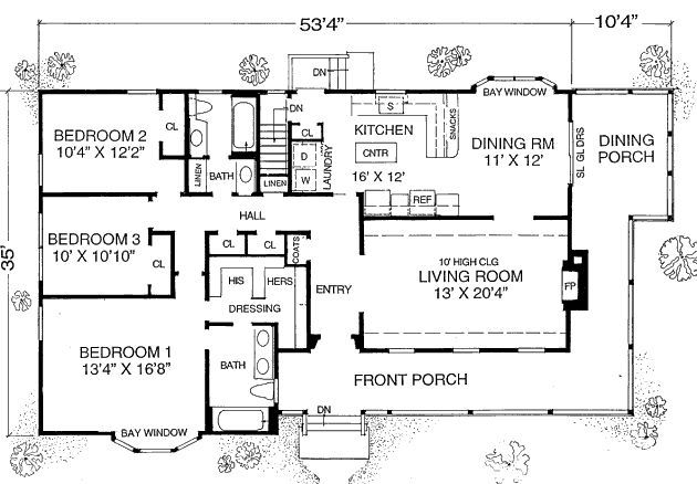 House Plan #302-204 This 1600 Square Feet Ranch Style 3