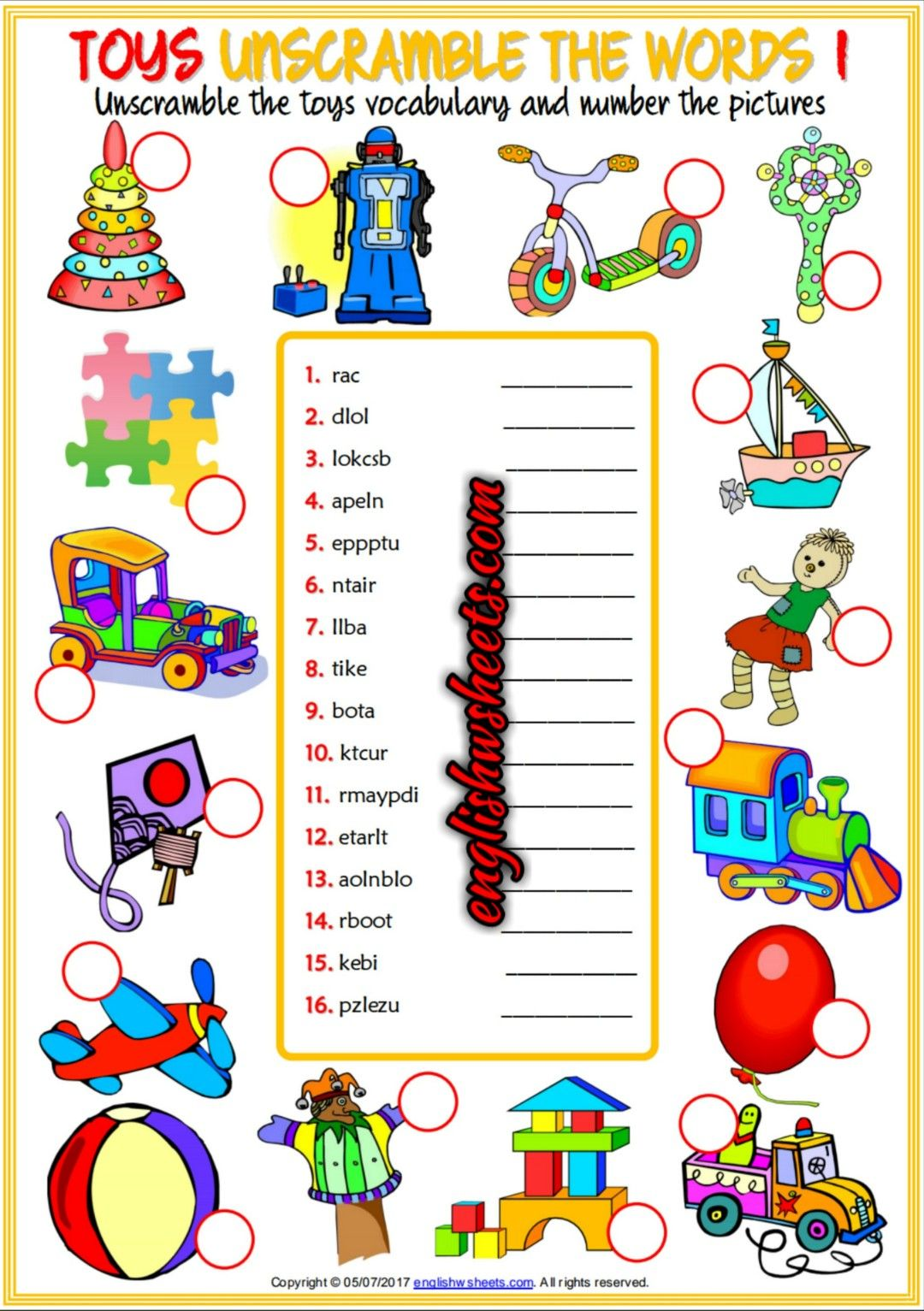 Toys Esl Printable Unscramble The Words Worksheets For