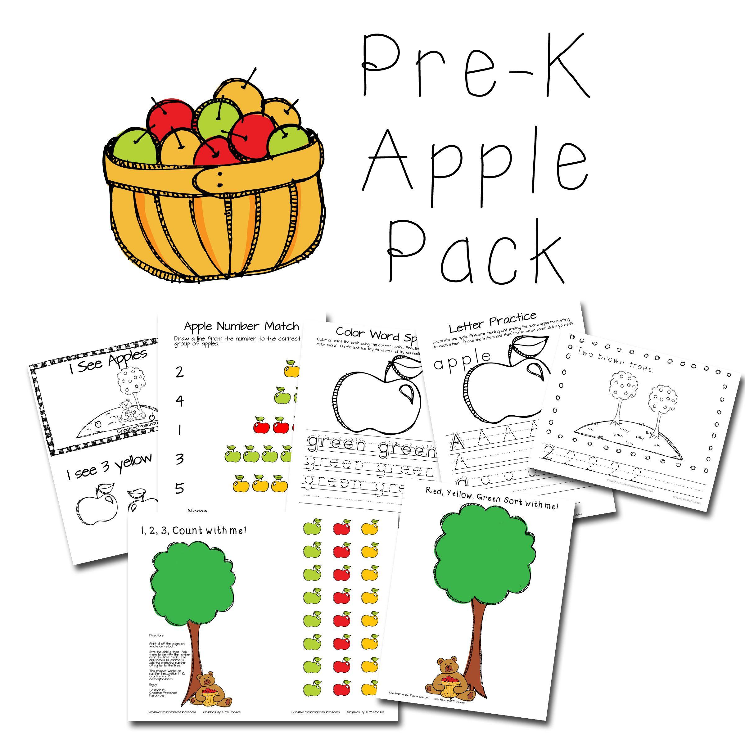 Super Cute Pre K Apple Themed Pack For Preschool Or