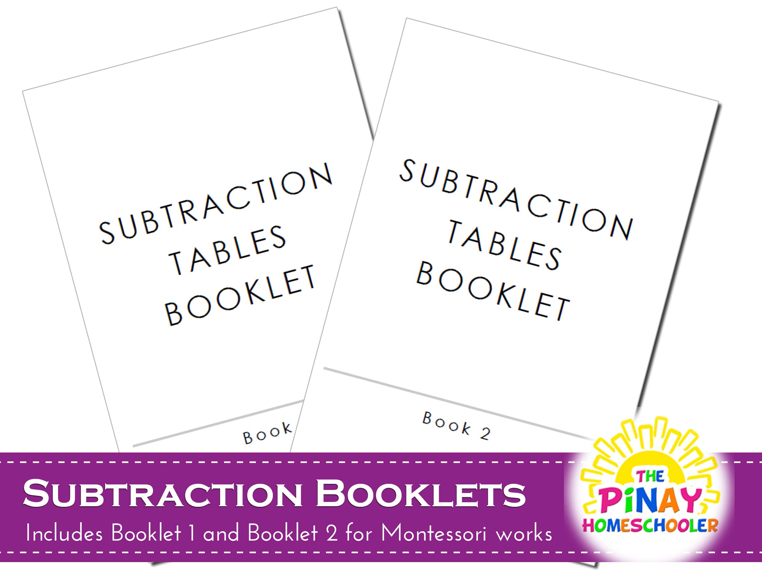 Free Subtraction Booklets Printables