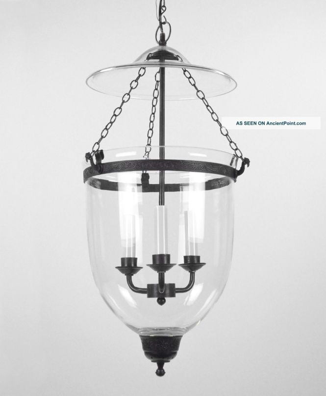 Large Bell Jar Light Chandelier Pendant Lantern Glass Colonial Old Antique Style Chandeliers Fixtures
