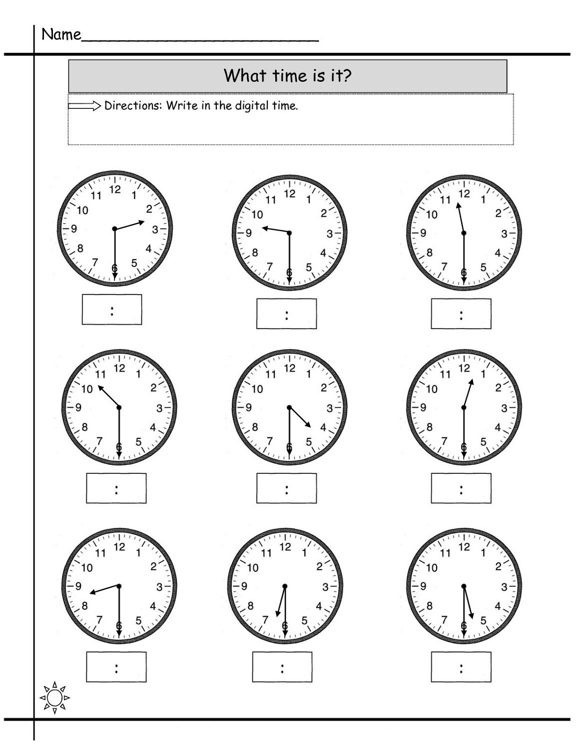 Clocks Worksheet Year 2