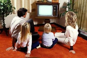 Image result for family watching tv together in the 70's