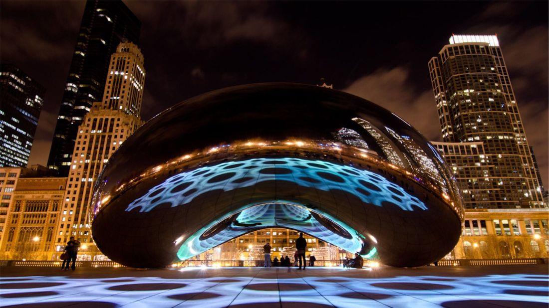 Millennium park city night lights chicago illinois