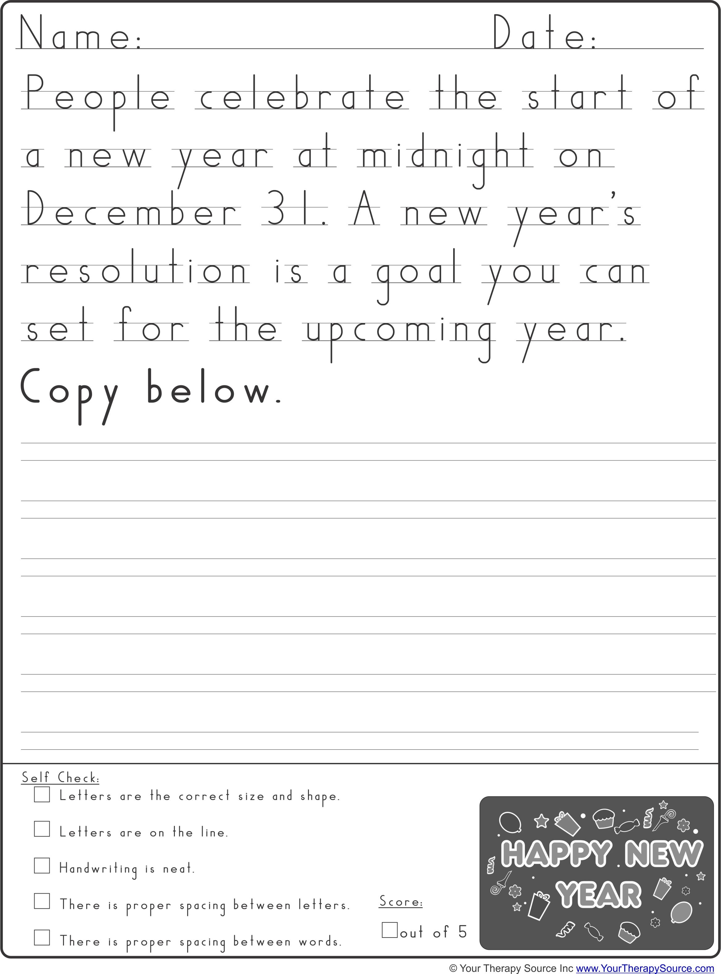 New Year Handwriting Practice From Yourtherapysource Freenewyearhw