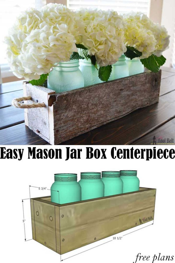 Easy Reclaimed Wood Box Centerpiece Centerpieces Jar and Box