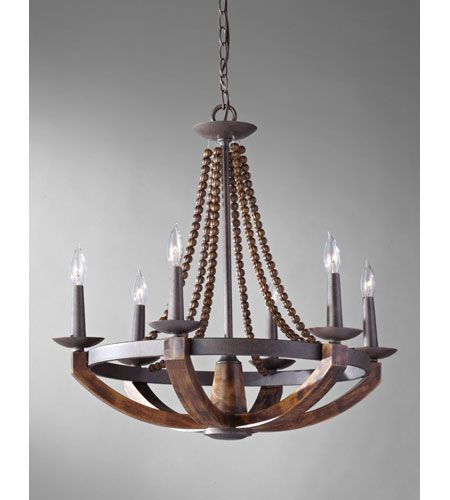 Murray Feiss Adan 6 Light Single Tier Chandelier In Rustic Iron And Burnished Wood F2749