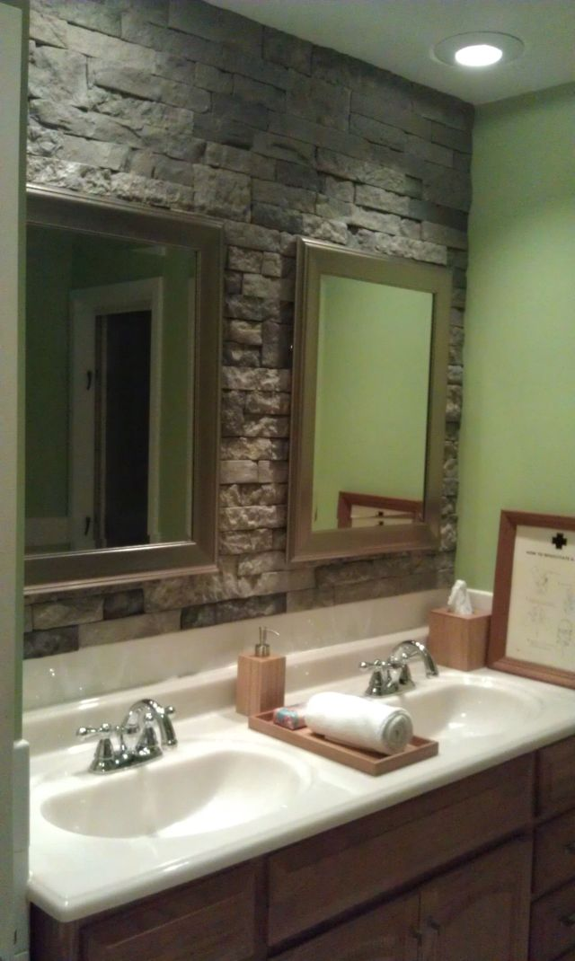 airstone stone accent wall in bathroom Can t wait to do this I