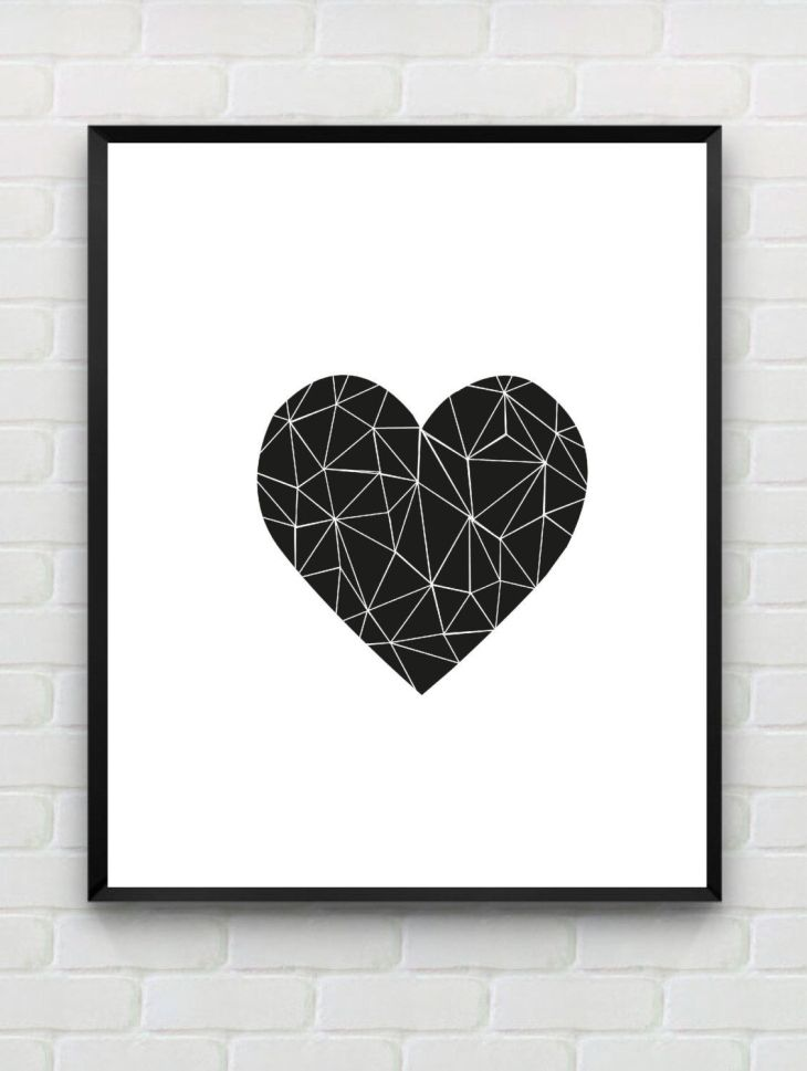 Printable Art Heart Print love Print Polygon Wall Art Geometric