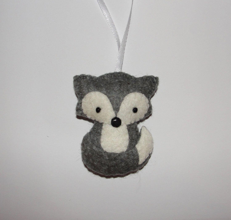Wool Felt Gray Wolf Ornament Baby Shower Ts