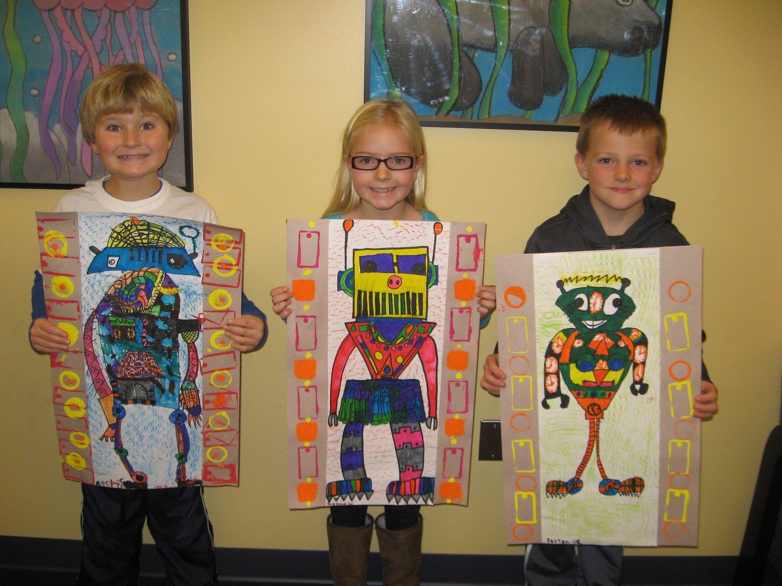 Davinci Inspired Robot Art By 2nd Graders