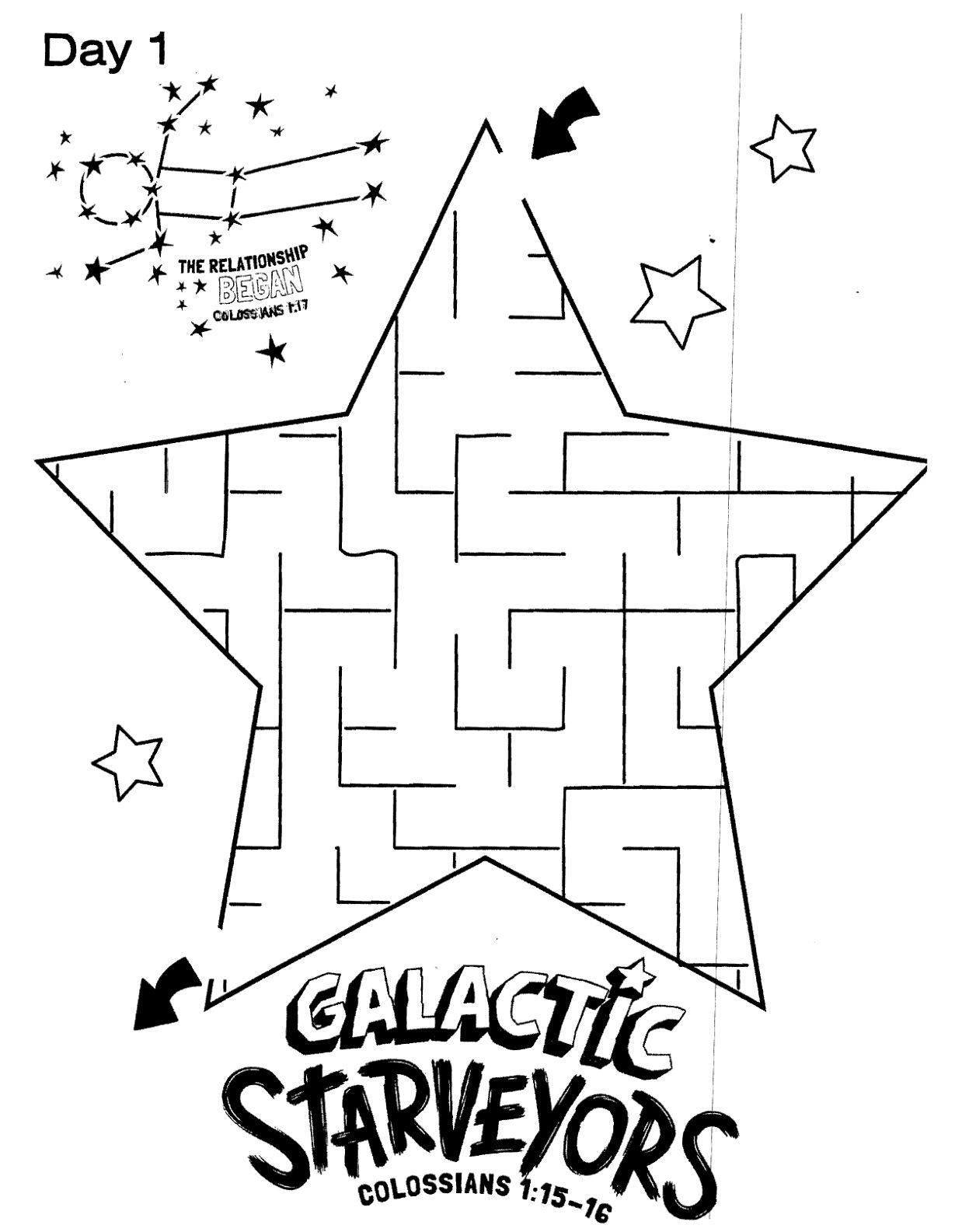 Galactic Starveyors Coloring Sheet Vbs Day 1 Easy
