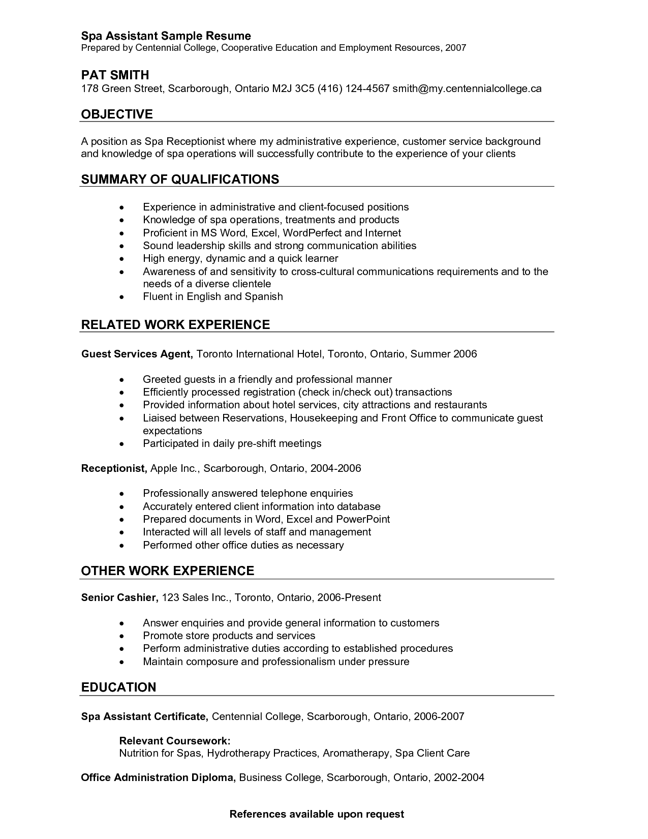 Resume For Concierge Personal Istant Sample Best Spa Job  Spa Receptionist Resume