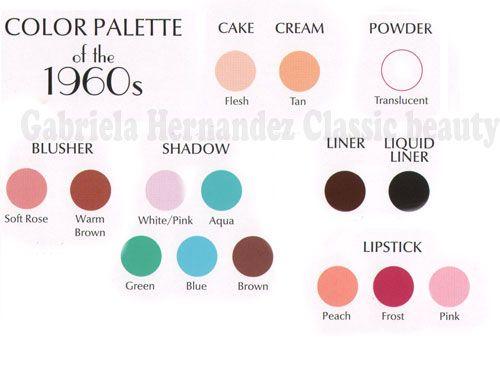 1960s Makeup Look Color Palette 1960s Makeup
