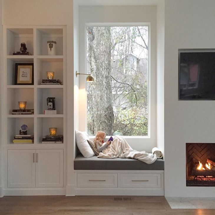 coziest window seat I ever did see with the perfect builtin and