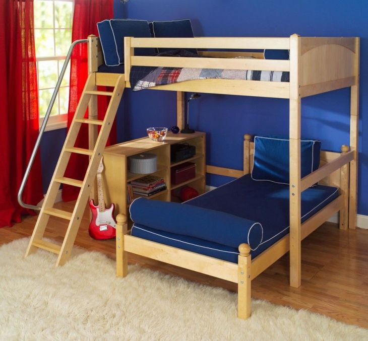 Kids Room Funky L Shaped Bunk Bed Plus Large Fur Rug Also Red