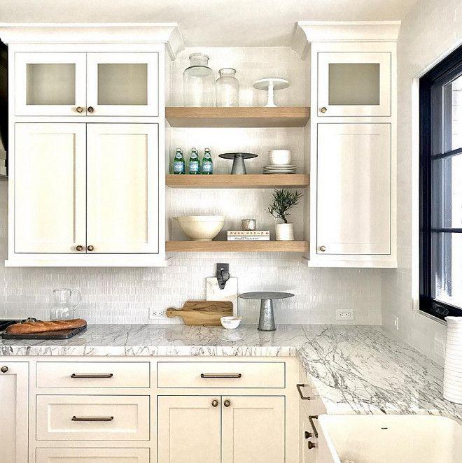 image result for floating shelves between cabinets on floating shelves kitchen id=35108