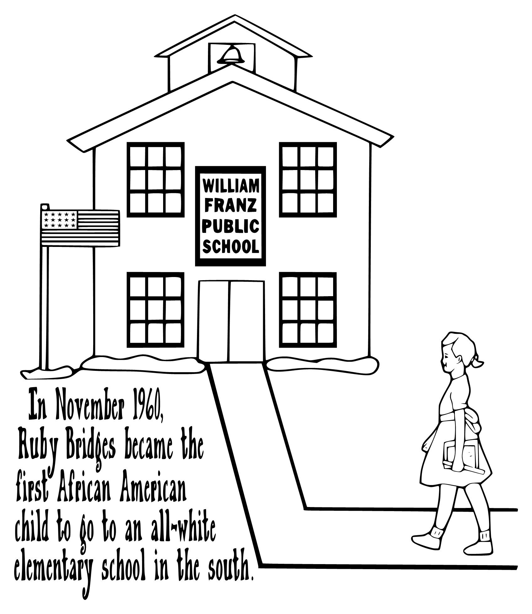 Ruby Bridges Coloring Page