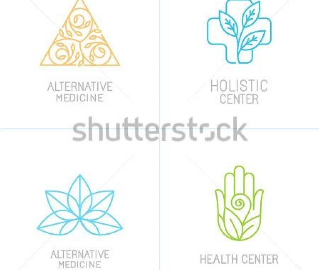 Vector Concepts And Logo Design Templates In Trendy Linear Style Alternative Medicine Health Centers And Holistic Treatment Icons Buy This Stock Vector
