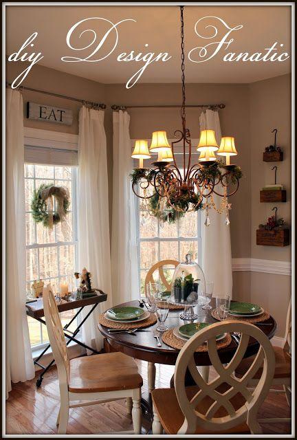 Christmas Decorated Dining/Breakfast Room   Holidays ... on Farmhouse:-Cra1Rtrksu= Dining Room Curtains  id=34247