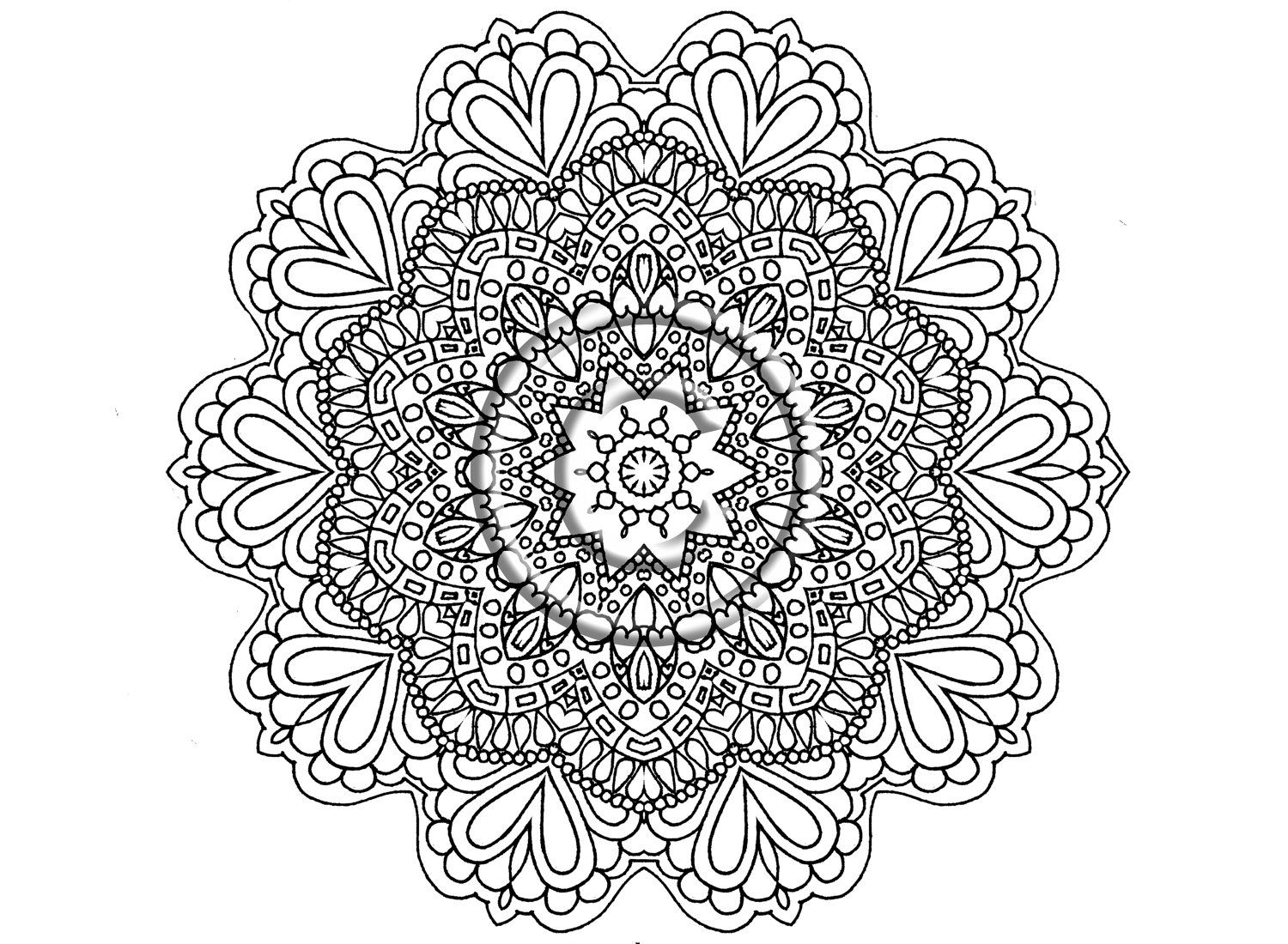 Instant Download Coloring Page Hand Drawn Zentangle