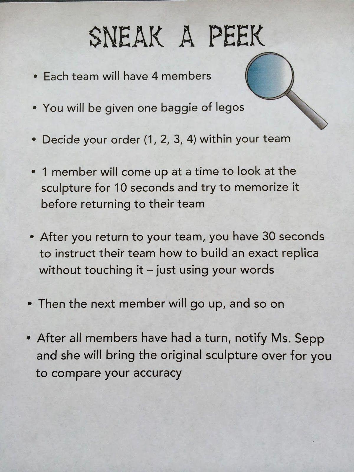 Ms Sepp S Counselor Corner Team Building Sneak A Peek
