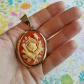 Vintage rose cameo locket gold tone large big it is signs and