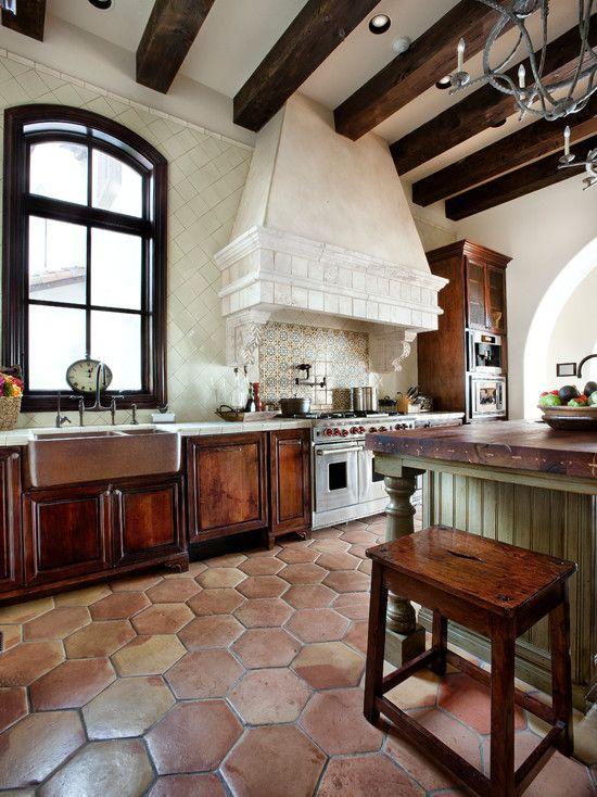 simple spanish home design with elegant interior design rustic kitchen design travertine tile on kitchen interior tiles id=72822