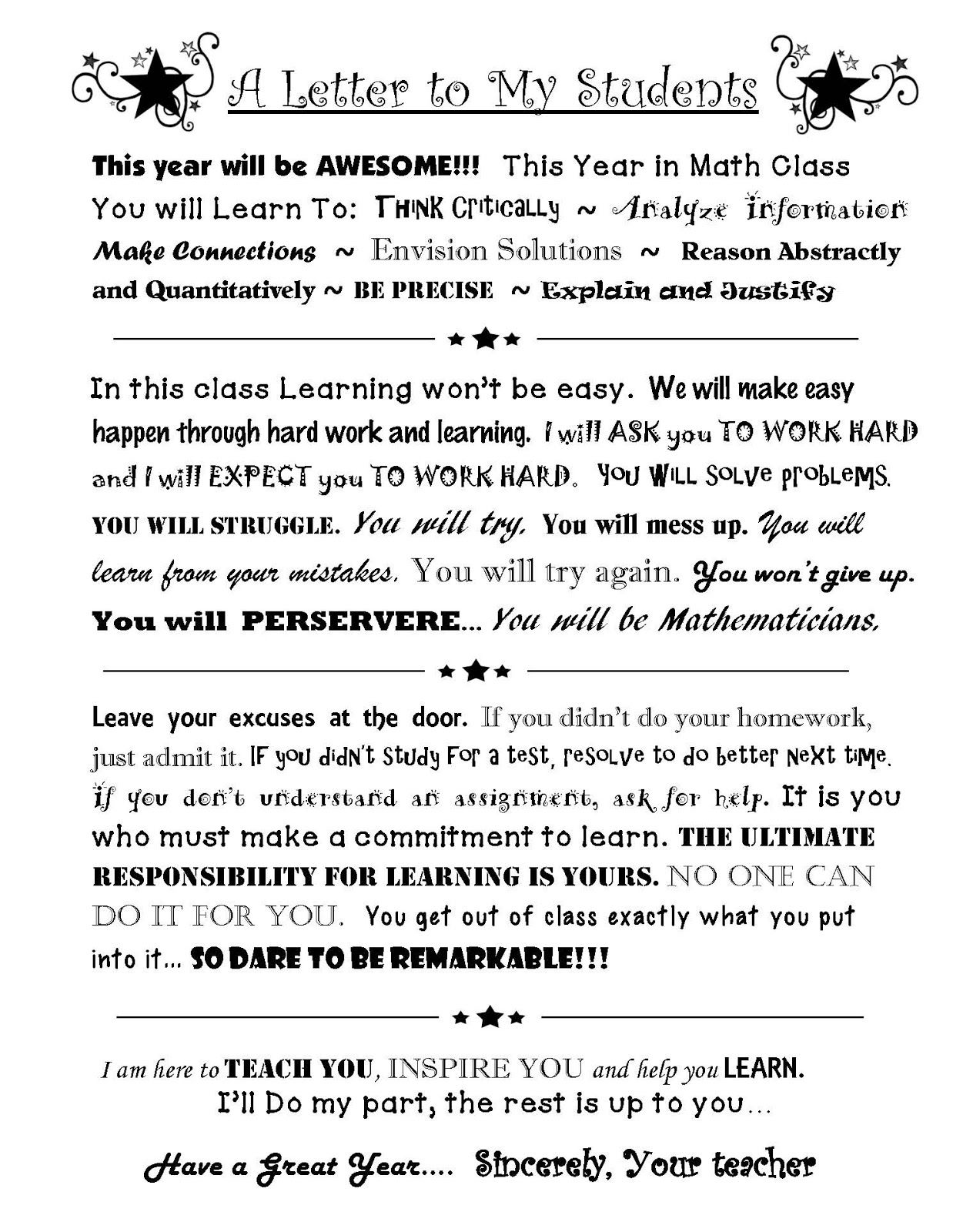 Rockstar Math Teacher A Letter To My Students