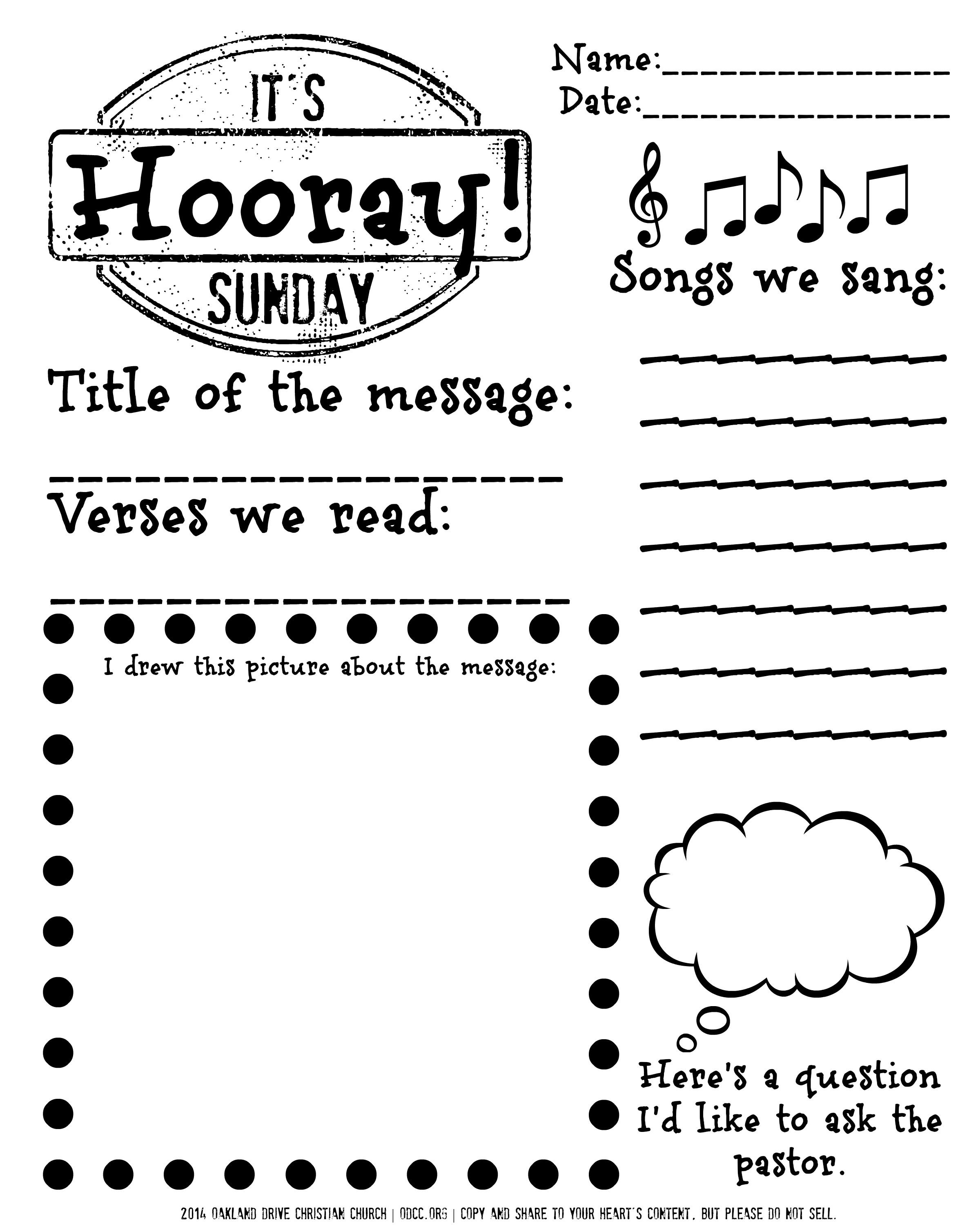Free Printable For Children Sitting Through The Worship