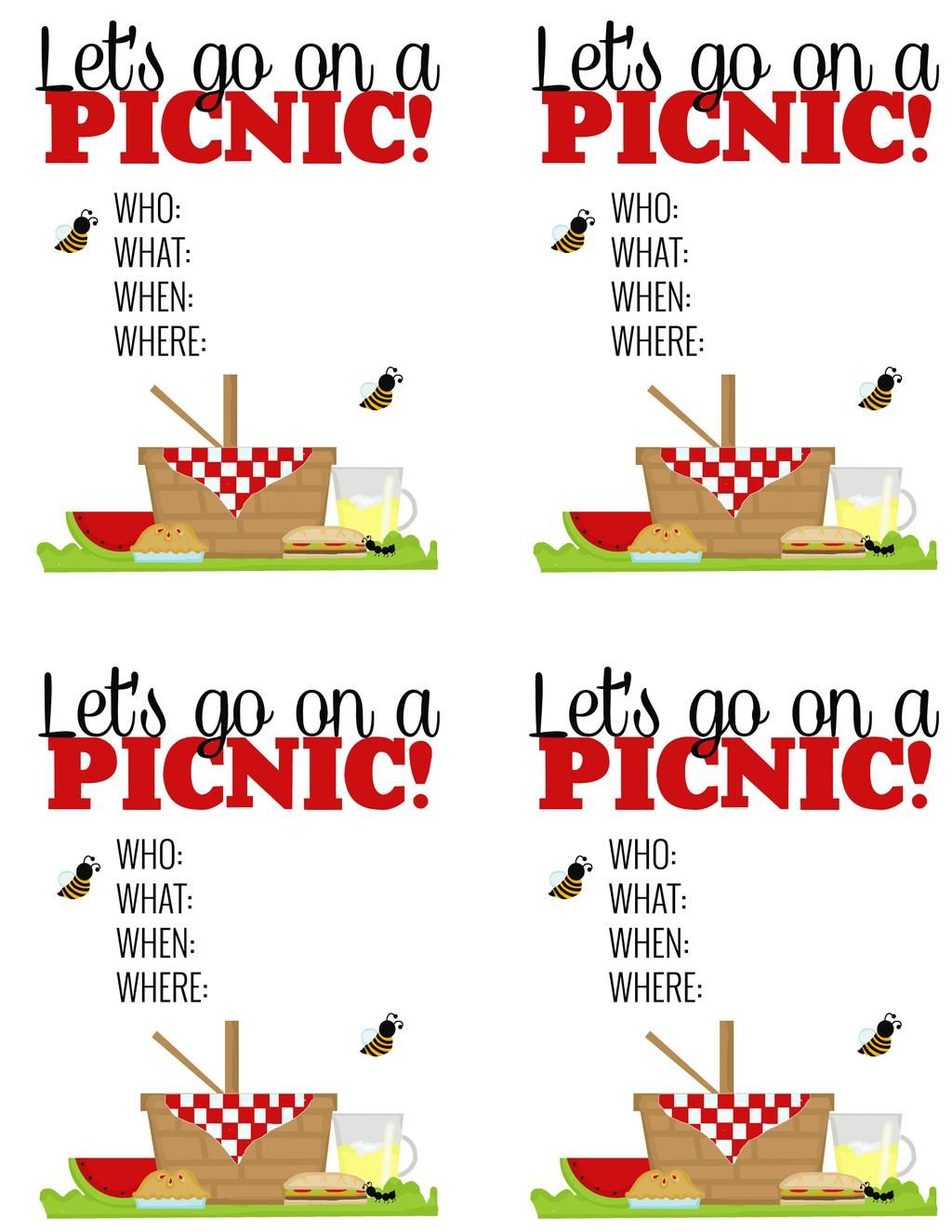 Surprise Breakfast Picnic Free Printable Picnic