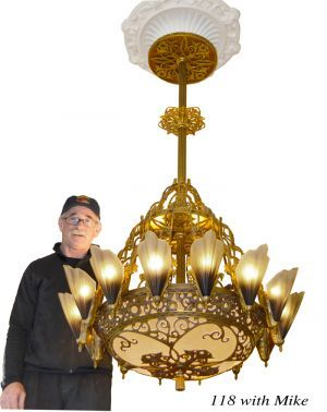 36 1 2 Large Art Deco Chandelier 14 Light Soleure Slip Shade Original
