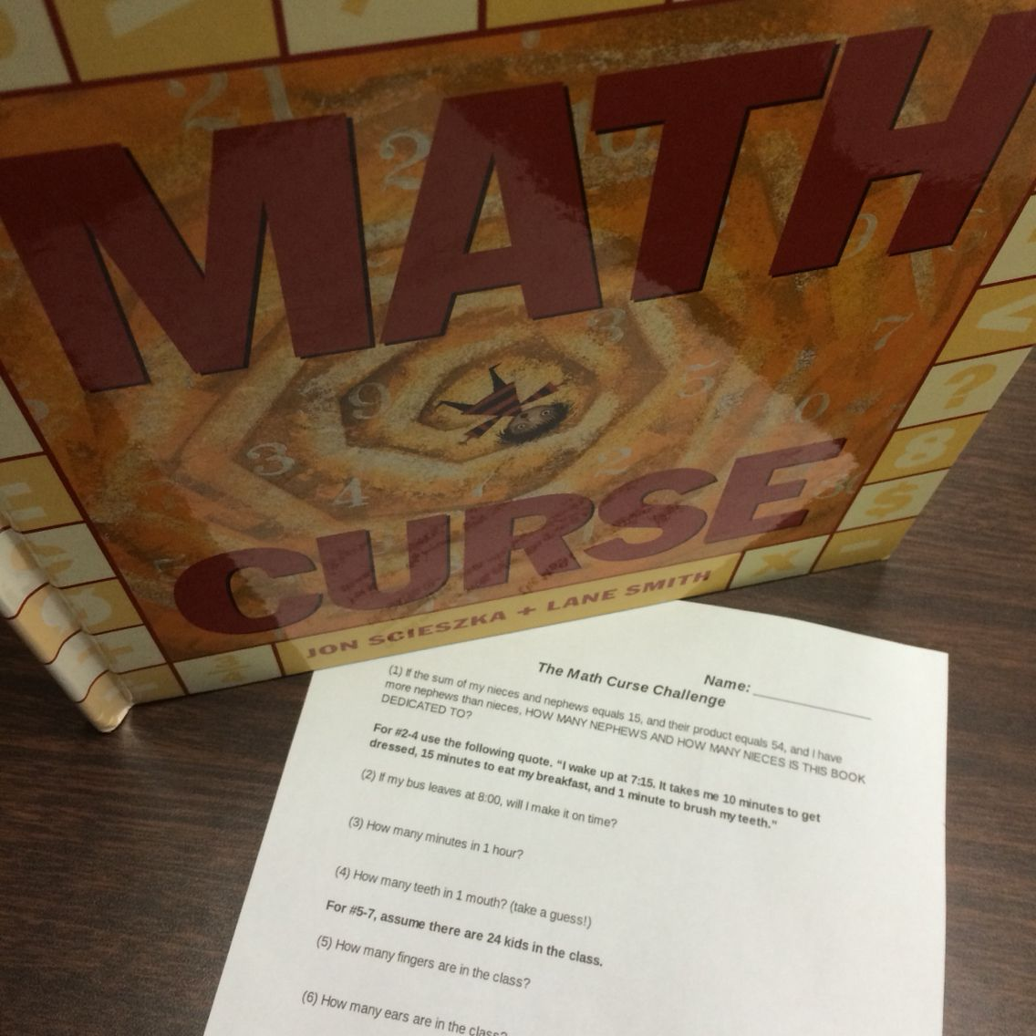 Free Math Worksheet To Go Along With The Book Math Curse Includes Questions From The Book For