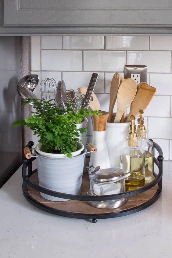 farmhouse style tray kitchen decor kitchen utensils plant white kitchen tray rustic on farmhouse kitchen utensils id=50568