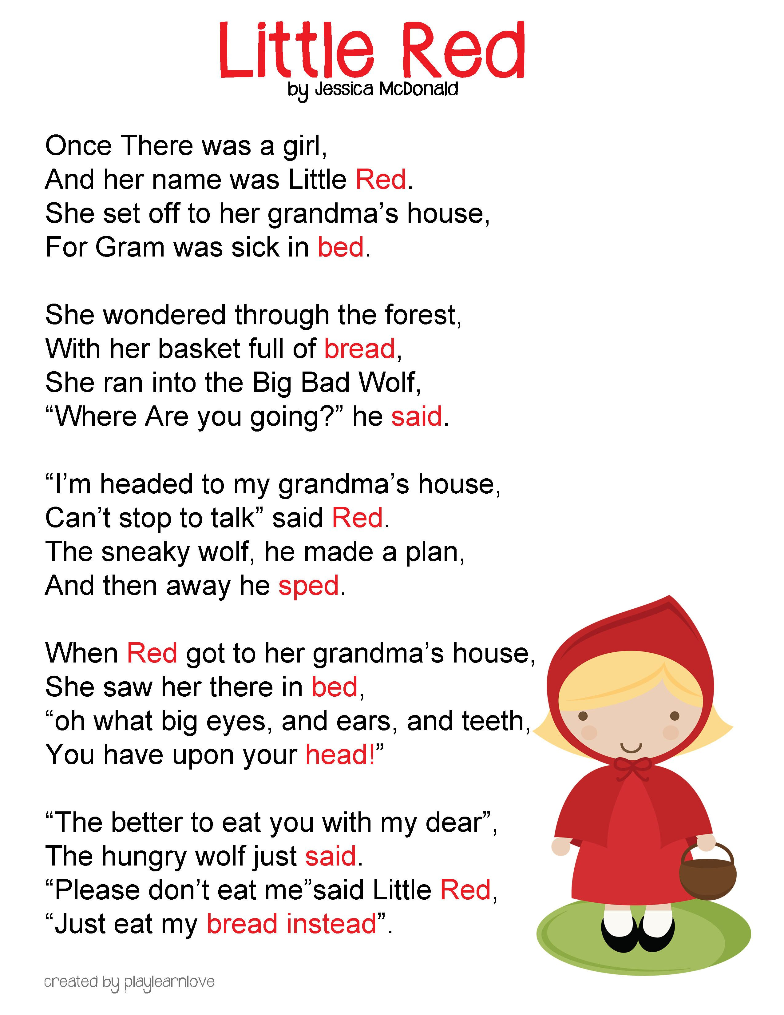 Little Red Riding Hood Poem And Lesson Plan