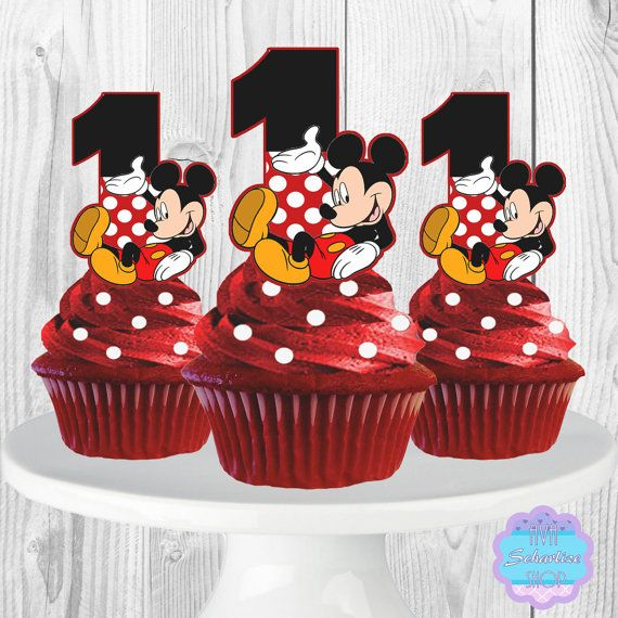 Printable Mickey Mouse Cupcake Toppers Cupcake Picks 1st